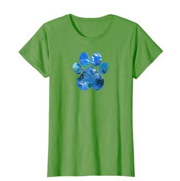 Earth Flight womens Paws shirt green