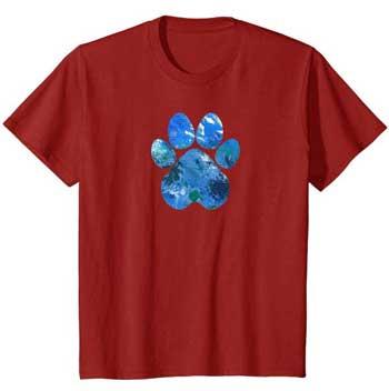 Earth Flight kids Paws shirt cranberry