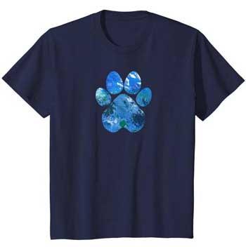 Earth Flight kids Paws shirt blue