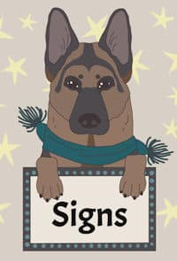GSD cartoon holding a signs sign