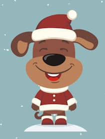 smiling dog cartoon Santa hat