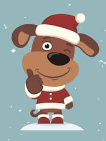 thumbs up dog cartoon Santa hat