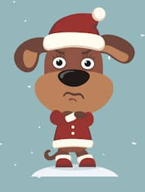 disappointed dog cartoon Santa hat