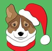 dog cartoon Santa hat