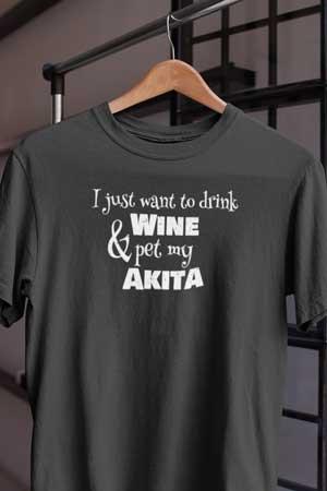akita wine shirt