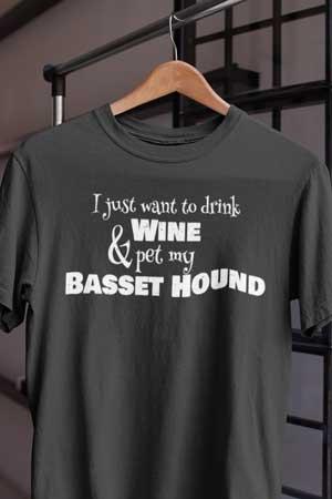 basset hound wine shirt