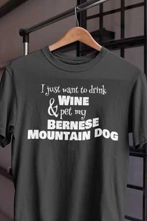 bernese mountain dog wine shirt