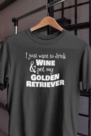 golden retriever wine shirt